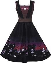 Pervobs Halloween Dress, Women Casual Vintage Sleeveless Horror Castle Print Halloween Evening Party Dress