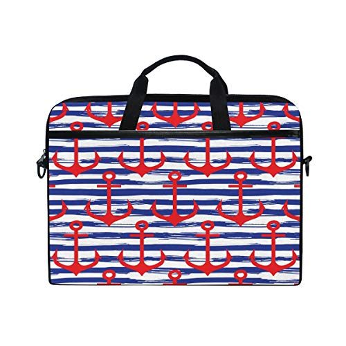 HaJie Laptop Bag Geometric Stripes Ocean Marine Anchor Computer Case 14-14.5 in Protective Bag Travel Briefcase with Shoulder Strap for Men Women Boy Girls