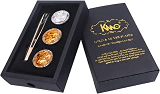 KINNO Edible 24 K Gold Flakes - Pure Genuine Silver Flakes - Tweezers Set for Makeup, Spa, Crafts, Gilding, Art, Bakery and Drink, Cake Baking (2 Pure Gold + 1 Silver)