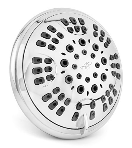 6 Function Adjustable Luxury Shower Head - High Pressure Boosting, Wall Mount, Bathroom Showerhead For Low Flow Showers, 2.5 GPM - Chrome