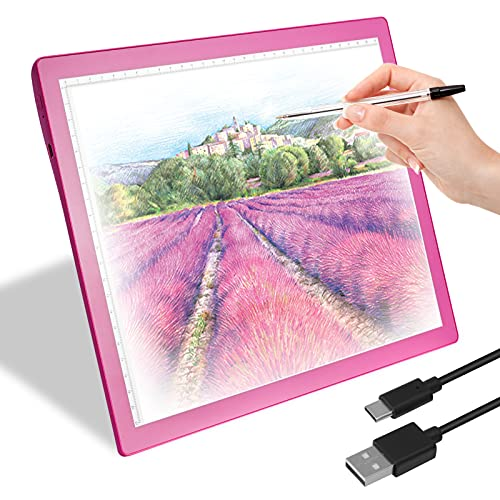 Rechargeable A4 Led Light Box Tracer,Wireless 5-Level Brightness Dimmable A4 LED Light Pad Tracer for Cricut Vinyl, Weeding Tools, Drawing Crafting Box for Tracing, Sketching & HTV