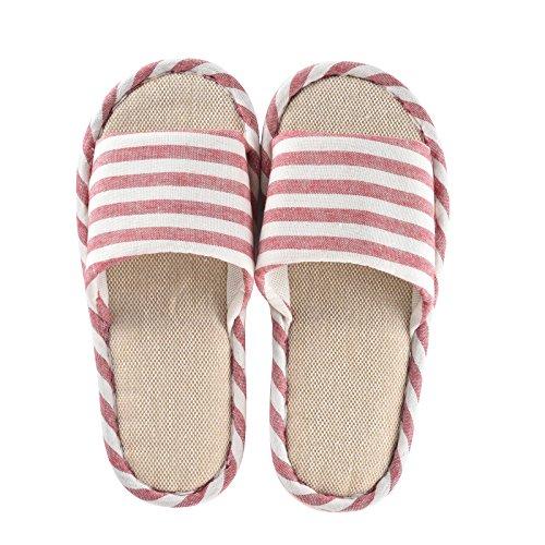 Cityelf Herren Damen Hausschuhe Baumwolle rutschfest Leichtgewichts Pantoffeln überdacht Slipper (Damen EU 37-38, rot)