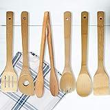 YWQ 6 Pezzi Utensili da Cucina in Legno bambù, Set di Cucchiai/Spatole da Cucina in bamb�...