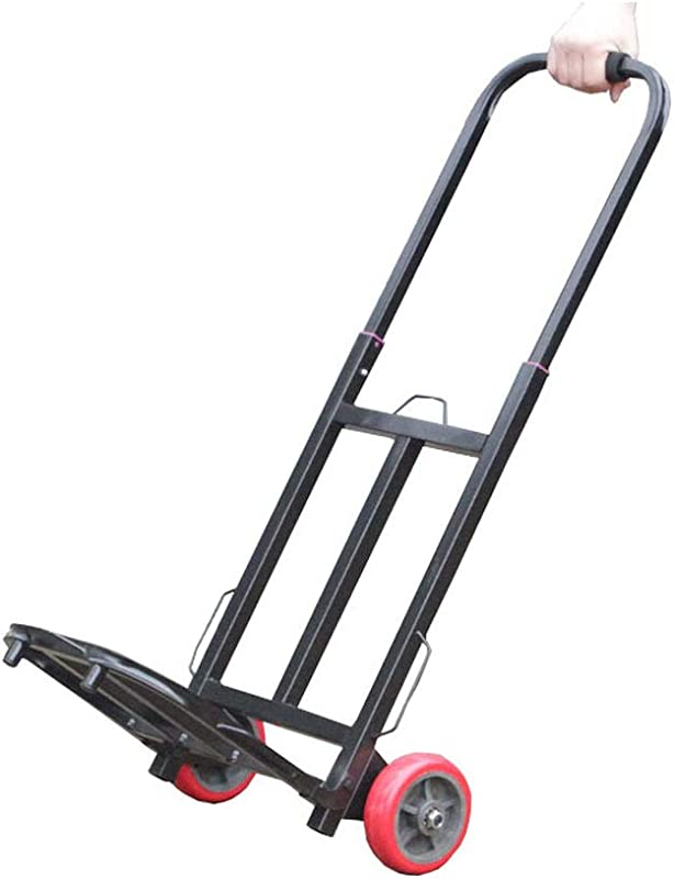 Shopping Trolley Folding Portable Trolley Car Luggage Cart Grocery Two Wheeled Cart Shopping Cart Color Black Size 94cm