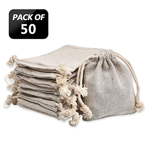 calary 50pcs Double Canvas Drawstring Bag Cotton Pouch Gift Sachet Bags Muslin Bag Reusable Tea Bag 2.75x4 Inch