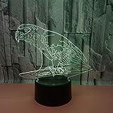 Lumière De Nuit 3D Nouveau Parrot 3D Lampe De Nuit Sept Contrôle Tactile De Couleur...