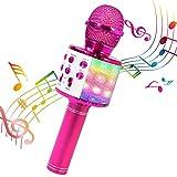 ShinePick Micrófono Karaoke Bluetooth, 4 en1 Microfono Inalámbrico Portátil con Luces L...