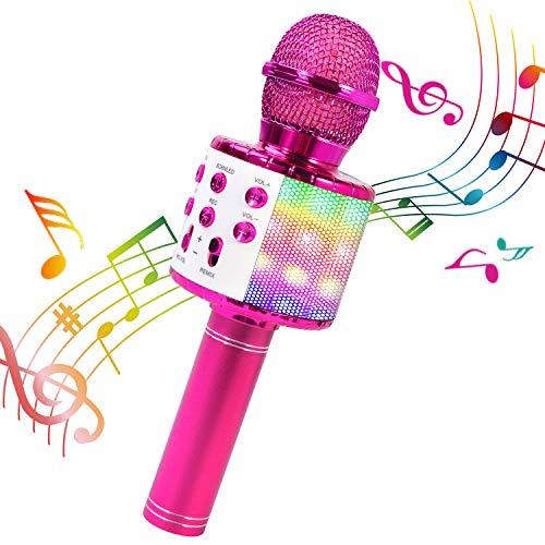 ShinePick Micrófono Karaoke Bluetooth, 4 en1 Microfono Inalámbrico Portátil con Luces LED para Niños Canta Partido Musica, Función de Eco, Compatible con Android, PC (Púrpura)