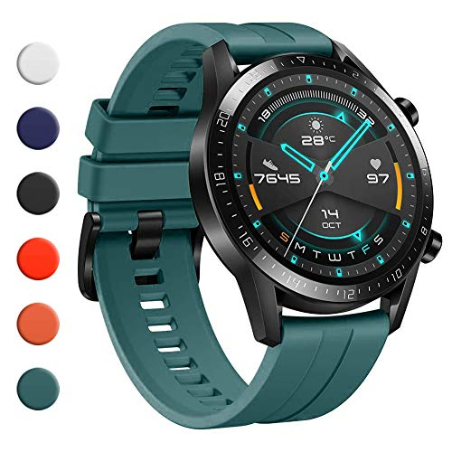 YHC Cinturino per Huawei Watch GT 2 / GT 2e 46mm,Compatibile con Huawei Watch GT/GT Active 46 mm (03-Verde Scuro)