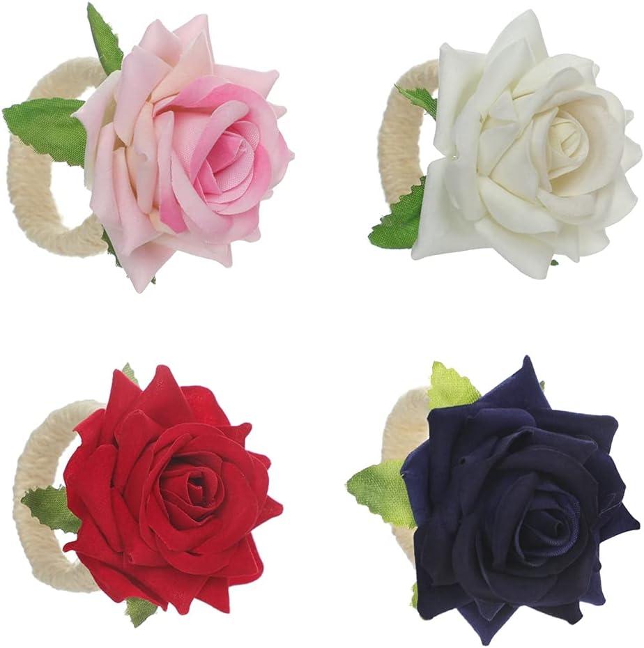 Animer and price revision Likense Ring Flower Handmade Champagne Set Napkin Wedd Rose Trust