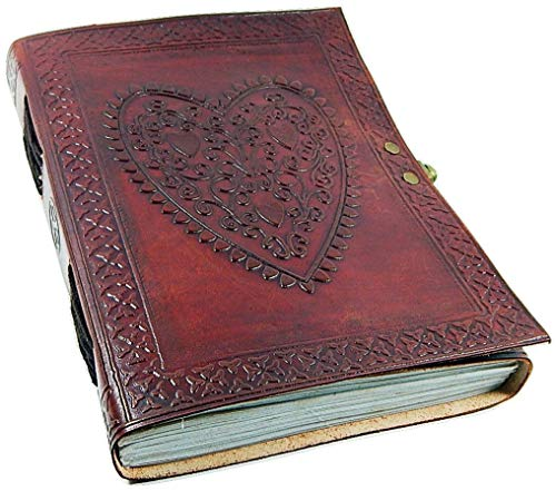 Genuine Leather Large Vintage Heart Embossed Leather Journal/Instagram Photo Album (Handmade paper) - Coptic Bound with Lock Closure