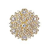 EVER FAITH Women's Austrian Crystal Elegant Flower Wedding Corsage Brooch Pin Clear Gold-Tone