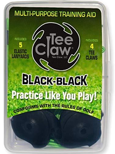 Tee Claw Golf-Trainingshilfe-Set, Kunstrasen-Tee-Halter und Trainingshilfe (schwarz/schwarz, 4er-Pack)