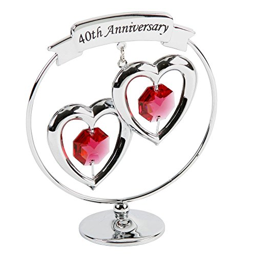 Crystocraft Happy 40th Ruby Wedding Anniversary Silver Ring Special...