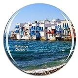 Weekino Grecia Pequeña Venecia Mykonos Imán de Nevera 3D de Cristal de la Ciudad de Viaje Recuerdo Colección de Regalo Fuerte Etiqueta Engomada refrigerador
