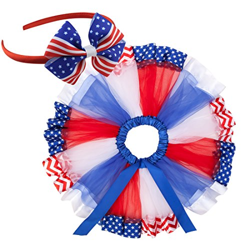 traderplus Baby Girl Toddler July 4th American Flag Tutu Skirt Independence Day Dress (Flag,...