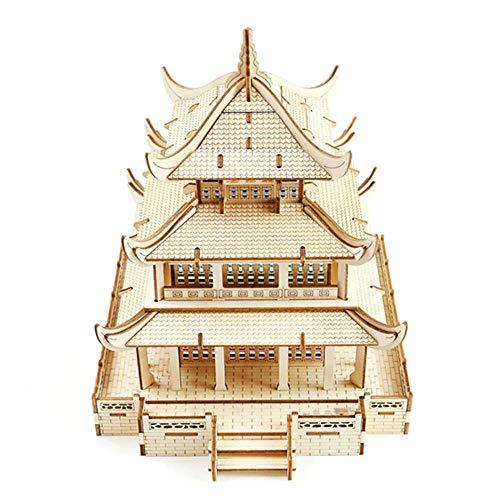 Taoke 3D Puzzle Klassik Altes Gebäude aus Holz Puzzle Modell 3D Puzzle-Gebäude Model Kit Erwachsene und Teenager Spielzeug (Farbe: Bild Farbe, Größe: 20.5x23.8x23cm) 8bayfa