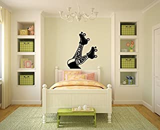 Roller Derby and Skates Vinyl Wall Words Decal Sticker Graphic