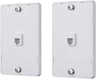 Monoprice 130804 Phone Jack Wall Plate-White (2 Pack) Used for Terminating RJ45 4 Conductor Telephone Line