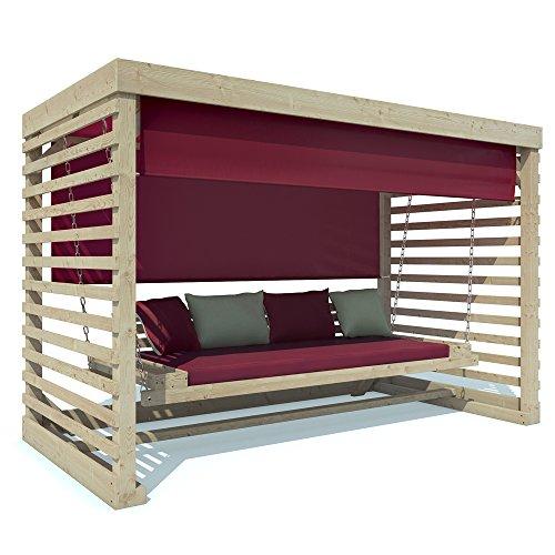Serina Hollywoodschaukel Tiffany Holz Gartenschaukel Schaukelbank Gartenmöbel 4-Sitzer (Auflagen in cherry)