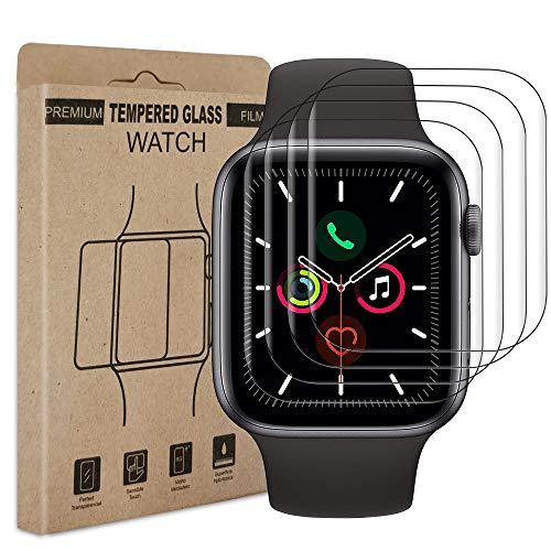 Bodyguard [4 Stück] Panzerglas Schutzfolie Kompatibel mit Apple Watch Series 4/5/6/se (44mm), Ultra Dünn Weiche Folie, Blasenfreie, Einfache Installation, Flexible Bildschirmschutzfolie