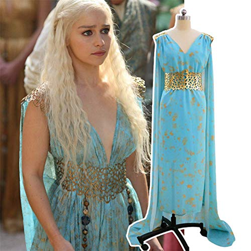 HJQ Game of Thrones Daenerys Targaryen Cosplay Gold Belt Blue Qarth Party Dress Halloween Cosplay Party Dress Up Costume,Blue,M