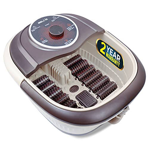IBELL FTM110K Foot Massager Machine with Vibration & Water Heating Technology, Temperature Control, Manual Rollers & Bubble Bath for Pedicure, Pain Relief & Relaxation (Brown)