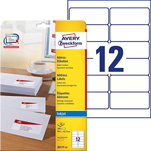 AVERY Zweckform J8177-25 Adressetiketten/ Adressaufkleber (99,1x42,3mm auf DIN A4, bedruckbar, selbstklebend, ideal für DIN lang Kuverts, Papier matt, für Inkjet-Drucker, 300 Etiketten, 25 Blatt) weiß