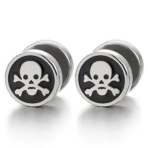 2pcs Steel Pirate Skull Circle Stud Earrings for Men Women, Silver Black Cheater Fake Ear Plug Gauge