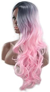 Long Wavy Pastel Wigs Dark Roots Ombre Pink Wigs for Women Girls Cosplay Party Synthetic Wigs Glueless Middle Part Natural...