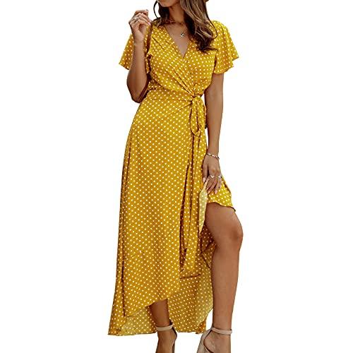 Vestido maxi de manga corta con cuello en V y lunares para mujer, para fiesta en la playa, cintura alta, bohemio, Swing Midi, amarillo, XL