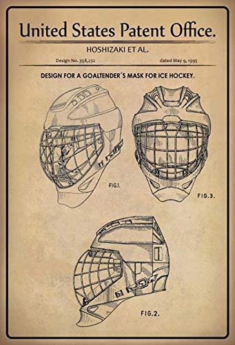 FS Patent ontwerp keeper masker - ijshockey metalen bord bord gebogen metalen teken 20 x 30 cm