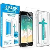 XeloTech Schutzglas Folie [3 Stück] für iPhone 8, 7, 6s, 6 (Achtung Nicht für iPhoneSE-2020) mit Schablone zur Positionierung - Bildschirmschutzfolie aus 9H Glas - Mit Handy Hülle kompatible Schutzfolie