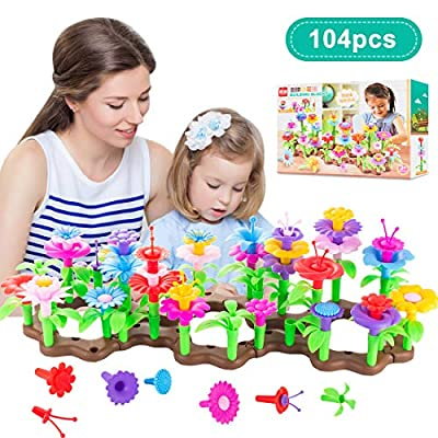 Jsbaby Flower Garden Buliding Set Toys 104PCS Educational Creative Bouquet Stem Arrangement for Toddlers and 3-8 Year Old Kids Arts Crafts Girls Boys