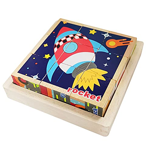 Puzzles de Madera Educativos para Bebé,Juguete Educativo Montessori,Juguetes Rompecabezas de Cubos de Madera,Bloques de Rompecabezas de Animales,para 1 2 3 4 años Niños (Transporte)