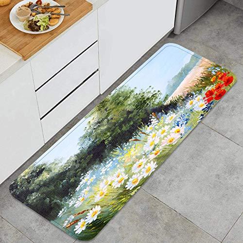 PUIO Juegos de alfombras de Cocina Multiusos,Pintura al óleo Paisaje Prado Margaritas Naturaleza,Alfombrillas cómodas para Uso en el Piso de Cocina súper absorbentes y Antideslizantes