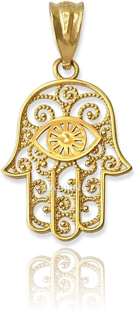 LA BLINGZ 10K Yellow Gold Hamsa Evil Eye Filigree Charm Necklace