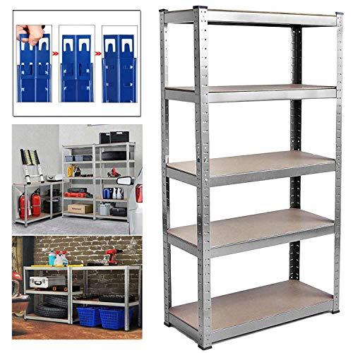 Shed Garage Shelving Unit for Storage, 150x70x30cm 5 Tier Storage Shelf Unit, Heavy Duty Metal Racking Workbench w/5 MDF Board, 875Kg Load Capacity(175Kg Per Shelf), Rubber Feet, Galvanised