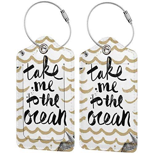 VORMOR Etiquetas para Equipaje,Llévame al océano Olas abstractas y gaviotas Vacaciones de Verano,2...