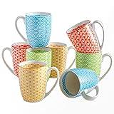 Vancasso Tafelservice, Natsuki Kaffeetassen aus Porzellan, 8-teiliges Tassen Set, 300 ml Kaffeebecher mit Henkel