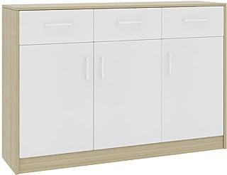 pedkit Aparador de Aglomerado Aparador con 3 Cajones y 3 Puertas Aparador Moderno Color Blanco y Roble Sonoma 110x34x75 cm