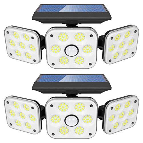 LITAKE Luz Solar Exterior 3 Cabezas, 138 LED Lámpara Solar Exterior con Sensor de Movimiento 3 Modos de Iluminación IP65 Impermeable Foco Solar Exterior para Jardín Garaje Camino, 2 Piezas