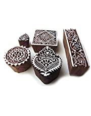 Hand Carved Square and Border Pattern Wood Block Print Stamps (Set of 5)
