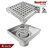 Neodrain Square Shower Drain with Removable Quadrato Pattern Grate, 4-Inch, Brushed 304 Stainless Steel, With WATERMARK&CUPC Certified, Includes Hair Strainer