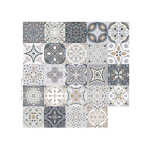 Fliesenaufkleber Mosaik Wandfliese Aufkleber 24 stück Mosaikfliesen Folie Fliesensticker Bad und Küche Deko Fliesenfolie (10 x 10 cm)