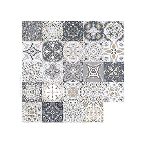 Fliesenaufkleber Mosaik Wandfliese Aufkleber 24 stück Mosaikfliesen Folie Fliesensticker Bad und Küche Deko Fliesenfolie (20 x 20 cm)