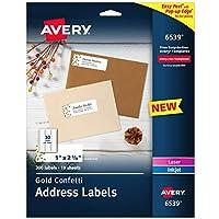 Avery 簡単剥がしアドレスラベル 1インチ x 2-5/8インチ ゴールド紙吹雪デザイン 300ラベル (6539)