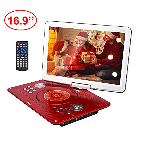 YOOHOO 16.9'' Portable DVD Player with Remote Controller, 14.1'' HD Swivel Large Screen,6 Hours Rechargeable Battery,Supports SD Card, USB Port (Red)