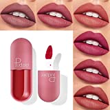 Mini Capsule Matte Superstay Ink, 6 Pcs Matt Waterproof Long Lasts Lipstick Liquid/Non-Stick on Cup, Kiss-proof, Nude Lip Gloss Kit (AN)