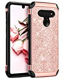 BENTOBEN Compatible with LG Stylo 6 Case, 2 in 1 Slim Hybrid Glitter Sparkle Bling Hard Cover Soft Rubber Bumper Girls Rugged Shockproof Protective Phone Case for LG Stylo 6, Rose Gold